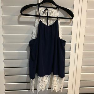 Navy blue and white lace NWOT